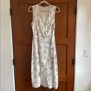 l'Academie white floral wrap tunic